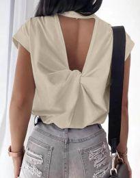 Дамска тениска с ефектен гръб в бежово - код 4515