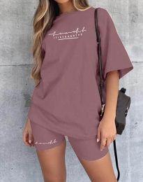Дамски спортен сет тениска и клин в цвят пудра - код 4350