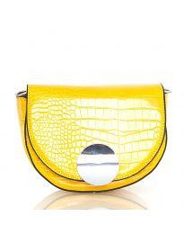 Дамска чанта в жълто с капак и заоблена форма - код DM-13