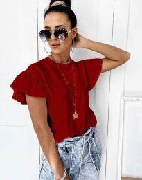 Дамска тениска с къдрички в червено с ефектни ръкави - код 4669