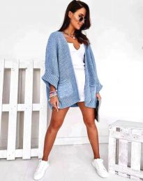 Дамска свободна плетена жилетка в светлосиньо - код 0553