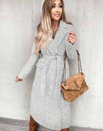 Дълго дамско палто с колан в сиво - код 0876