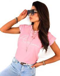 Розова тениска с надпис - код 2517