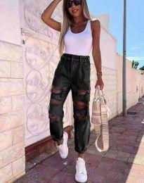 Дамски свожодни накъсану дънки с висока талия в черно - код 4676