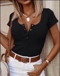 Дамска тениска рипс в черно с копчета - 3233