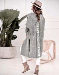 Дълга плетена жилетка с качулка в сиво - код 3162