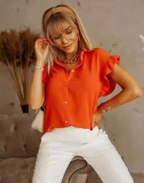 Дамска риза с къдрици в оранжево - код 4136