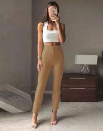 Елегантен дамски панталон с висока талия в капучино - код 3128
