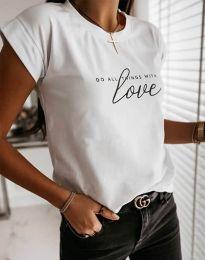 Дамска тениска в бяло с принт - код 2931