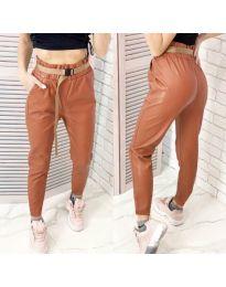 Дамски панталон еко кожа в кафяво - код 6329