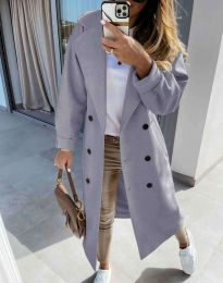 Дълго елегантно дамско палто в сиво - код 6452