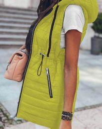 Дълъг дамски елек грейка с качулка в цвят неоновожълто - код 4138