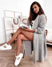 Дълга дамска плетена жилетка в сиво - код 4075