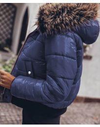 Дамско яке в тъмно синьо с пух лъскава материя - код 4949