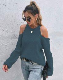 Дамски пуловер с голи рамене в цвят тюркоаз - код 3165