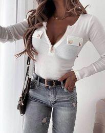 Дамска блуза рипс с дълбоко деколте в бяло - код 11615 - лице