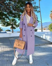 Дълго дамско палто с копчета в лилаво - код 3854