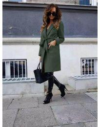 Елегантно дамско палто с колан в масленозелено - код 7940