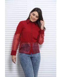 Дамска риза в бордо с елементи от тюл - код 0638