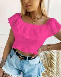 Атрактивна къса дамска тениска с дантела в цвят циклама  - код 2979