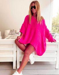 Свободна дамска плетена туника в цвят циклама - код 4167