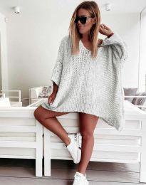 Свободна дамска плетена туника в сиво - код 4167
