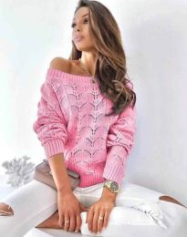 Дамски пуловер с паднало рамо в розово - код 1634