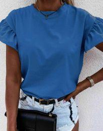 Дамска тениска с ефектни ръкави с къдрички в тъмносиньо - код 4352