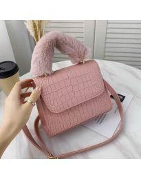 Дамска чанта в цвят пудра със змийски ефект и пухкава дръжка - код B57
