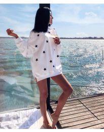 Свободна дамска туника в бяло на звезди - код 8681