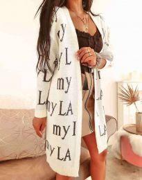 Ефектна дълга плетена дамска жилетка в бежово - код 2369