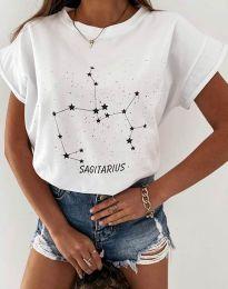 Дамска тениска с принт зодия стрелец в бяло - код 2342