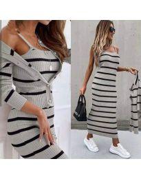 Дамски комплект рокля и жилетка в сиво - код 5356