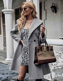 Елегантно вталено дамско палто в сиво - код 3908