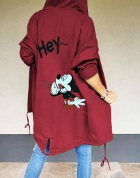 Суитшърт дълъг с качулка  в цвят бордо - код 7168