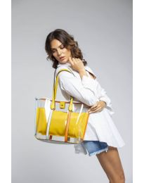 Дамска чанта в  жълто с прозрачна външна част - код LS542