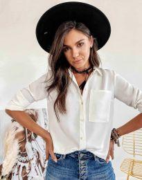 Елегантна свободна дамска риза в бяло - код 9363
