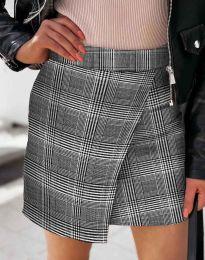 Къса атрактивна дамска пола с прехлупване в сиво каре - код 2544 - 5