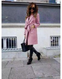 Елегантно дамско палто с колан в розово - код 7940