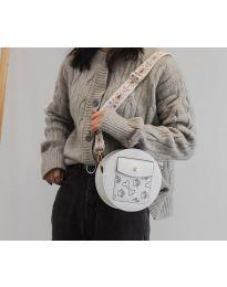 Кръгла  чанта в бяло с преден джоб и дълга дръжка - код B163