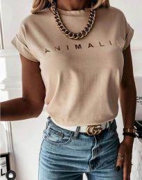 Дамска тениска в бежово със златен надпис - код 4079