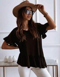 Атрактивна дамска тениска с къдрички в черно - код 0317