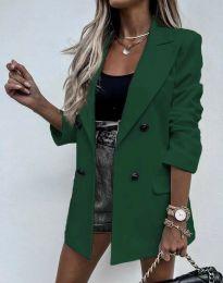 Елегантно дълго дамско сако в тъмнозелено - код 3716