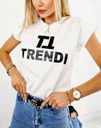 Дамска тениска в бяло с принт - код 2510