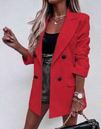 Елегантно дълго дамско сако в червено - код 3716