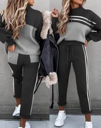 Дамски спортен комплект с блуза с дълъг ръкав и долнище с висока талия в черно - код 3607
