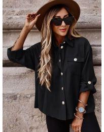 Дамска риза в  черно широка кройка - код 5293