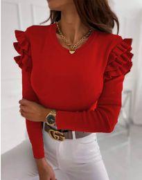 Дамска блуза рипс в червено с къдрички - код 1653