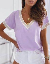 Дамска блуза с къс ръкав и остро деколте в лилаво - код 6863