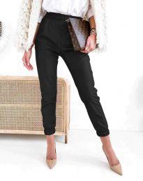 Дамски свободен кожен панталон с ластик в черно - код 5361